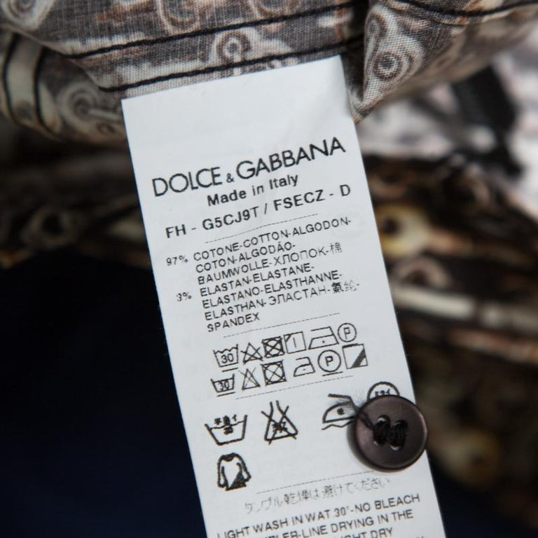 Dolce and Gabbana Sicilia Brown Key Printed Long Sleeve Button Front Shirt L For Sale 1