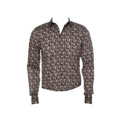 Dolce and Gabbana Sicilia Brown Key Printed Long Sleeve Button Front Shirt L