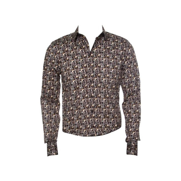 Dolce and Gabbana Sicilia Brown Key Printed Long Sleeve Button Front Shirt L For Sale