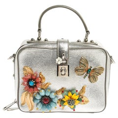 Dolce and Gabbana Silver Embellished Leather Limited Edition Top Handle Bag
