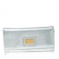 Dolce and Gabbana Silver Leather Continental Wallet
