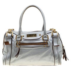 Dolce and Gabbana Silver Leather Miss Easy Way Boston Bag