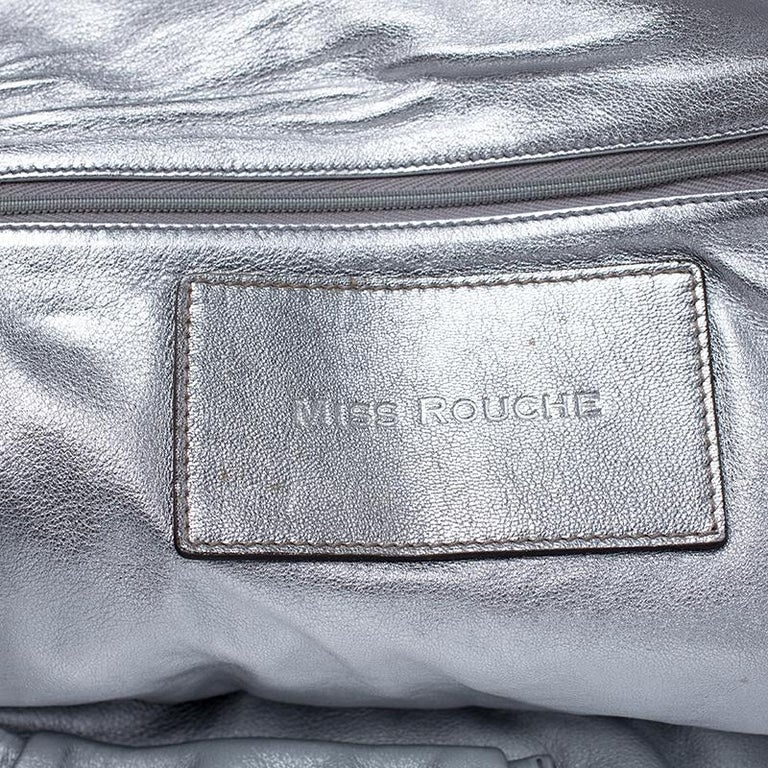 Dolce and Gabbana Silver Leather Miss Rouche Distressed Satchel For Sale 6