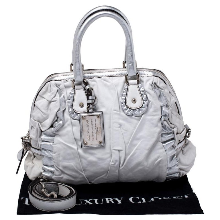 Dolce and Gabbana Silver Leather Miss Rouche Distressed Satchel For Sale 8