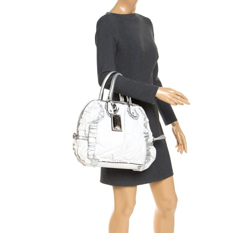 Dolce and Gabbana Silver Leather Miss Rouche Distressed Satchel In Good Condition For Sale In Dubai, Al Qouz 2
