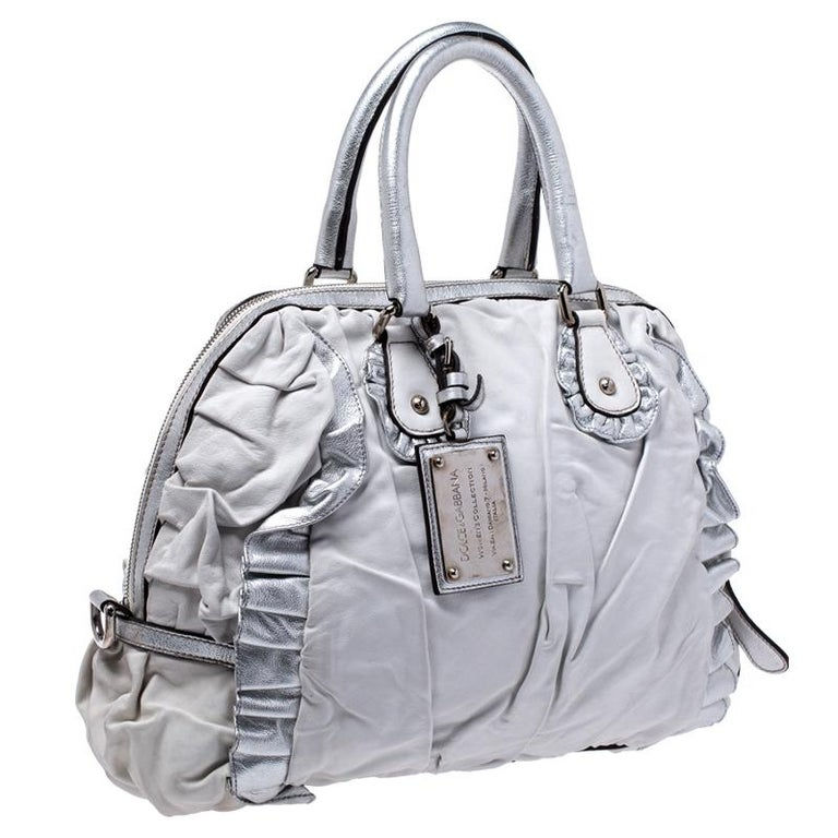 Women's Dolce and Gabbana Silver Leather Miss Rouche Distressed Satchel For Sale