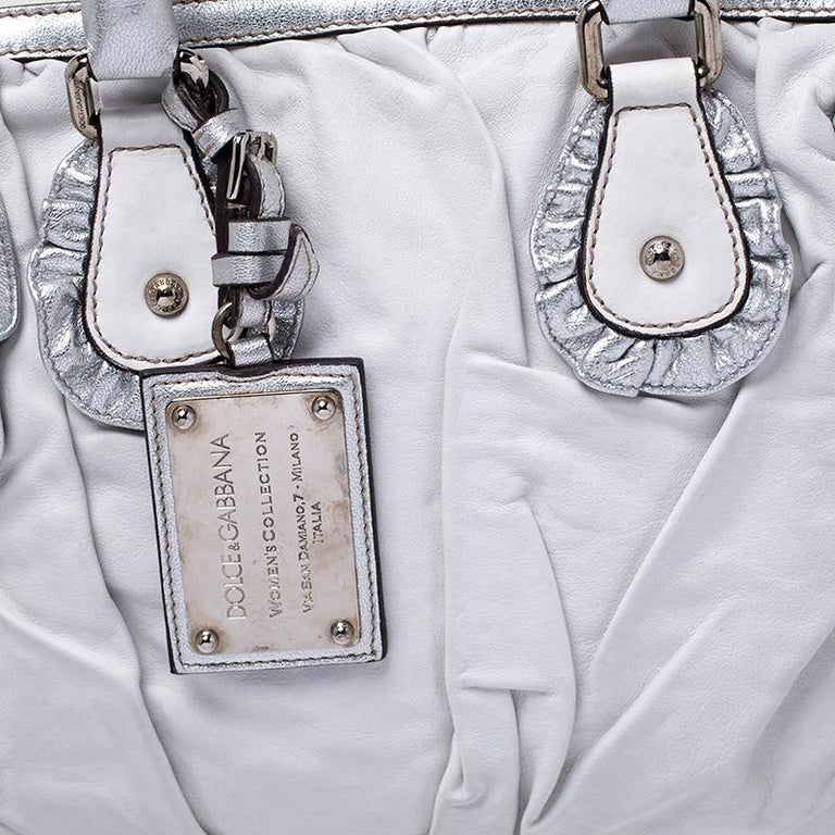 Dolce and Gabbana Silver Leather Miss Rouche Distressed Satchel For Sale 3