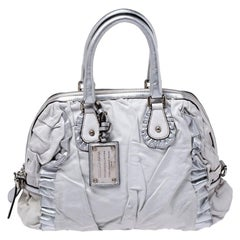 Dolce and Gabbana Silver Leather Miss Rouche Distressed Satchel