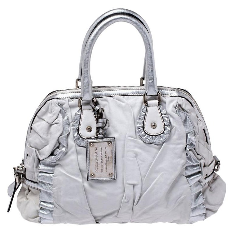 Dolce and Gabbana Silver Leather Miss Rouche Distressed Satchel For Sale