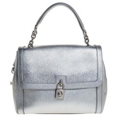 Dolce and Gabbana Silver Leather Small Miss Dolce Top Handle Bag