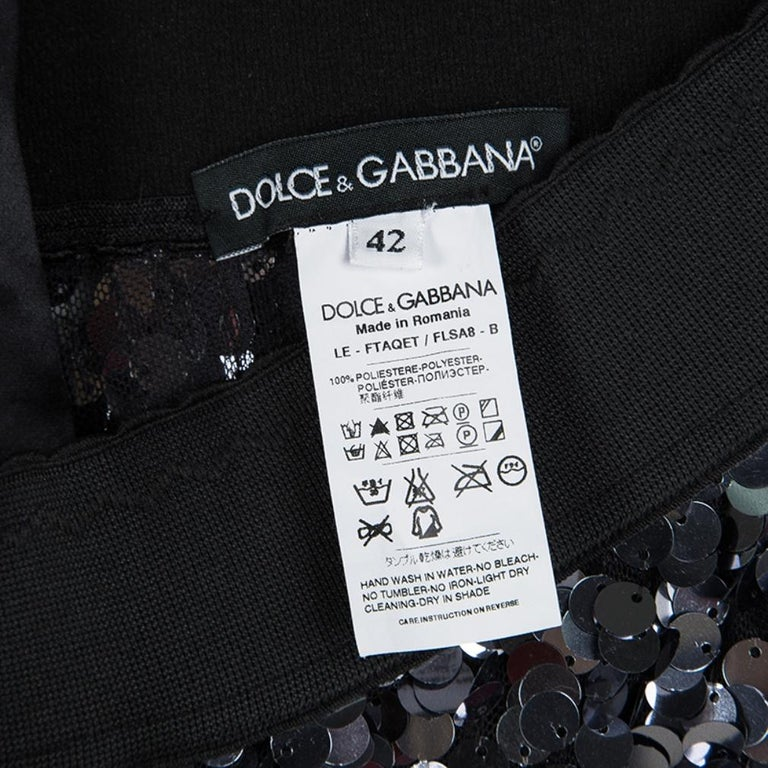 Women's Dolce and Gabbana Silver Sequin Paillette Embellished Leggings M For Sale
