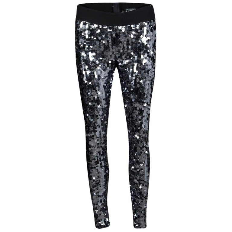 Dolce and Gabbana Silver Sequin Paillette Embellished Leggings M For Sale