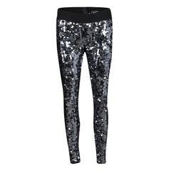 Dolce and Gabbana Silver Sequin Paillette Embellished Leggings M