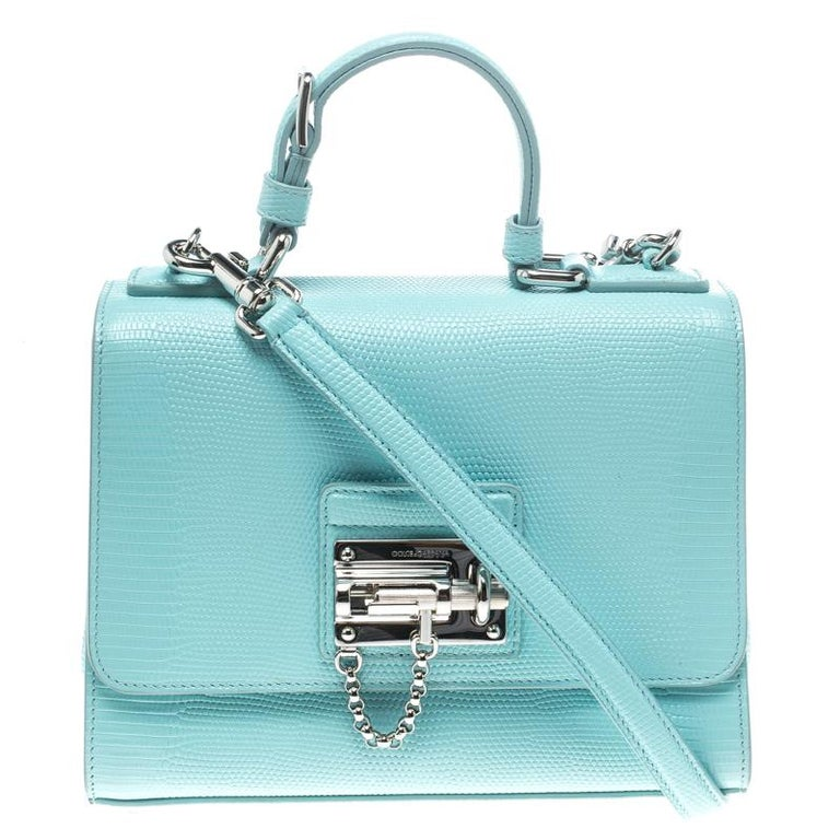 d0f20c7f561 Dolce and Gabbana Sky Blue Lizard Embossed Leather Small Miss Monica Top  Handle For Sale