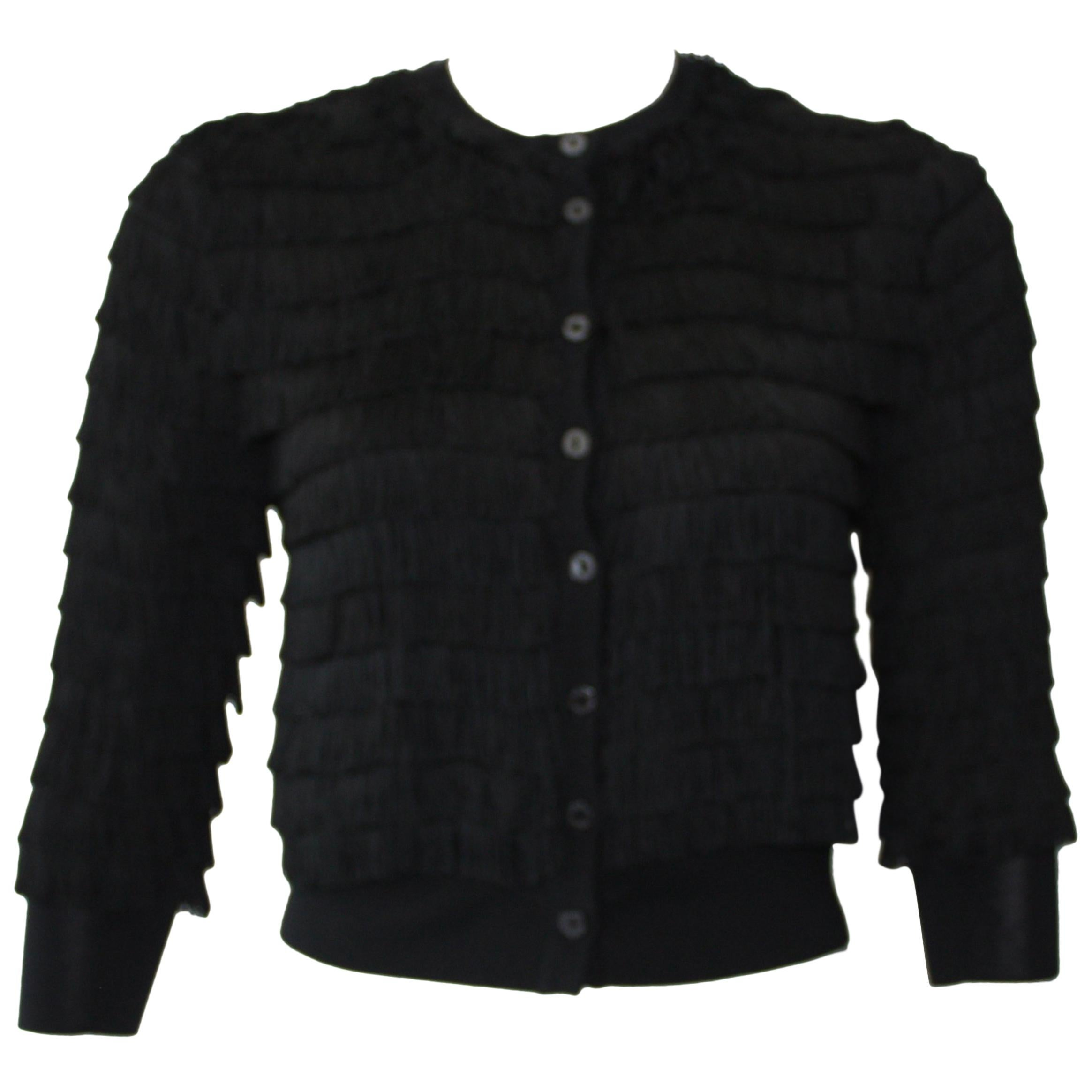 Dolce and Gabbana Special Edition Black Fringe Cardigan Size XS