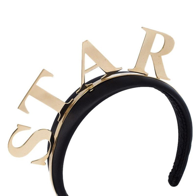 Dolce and Gabbana Star Black Satin Gold Tone Headband In Good Condition For Sale In Dubai, Al Qouz 2