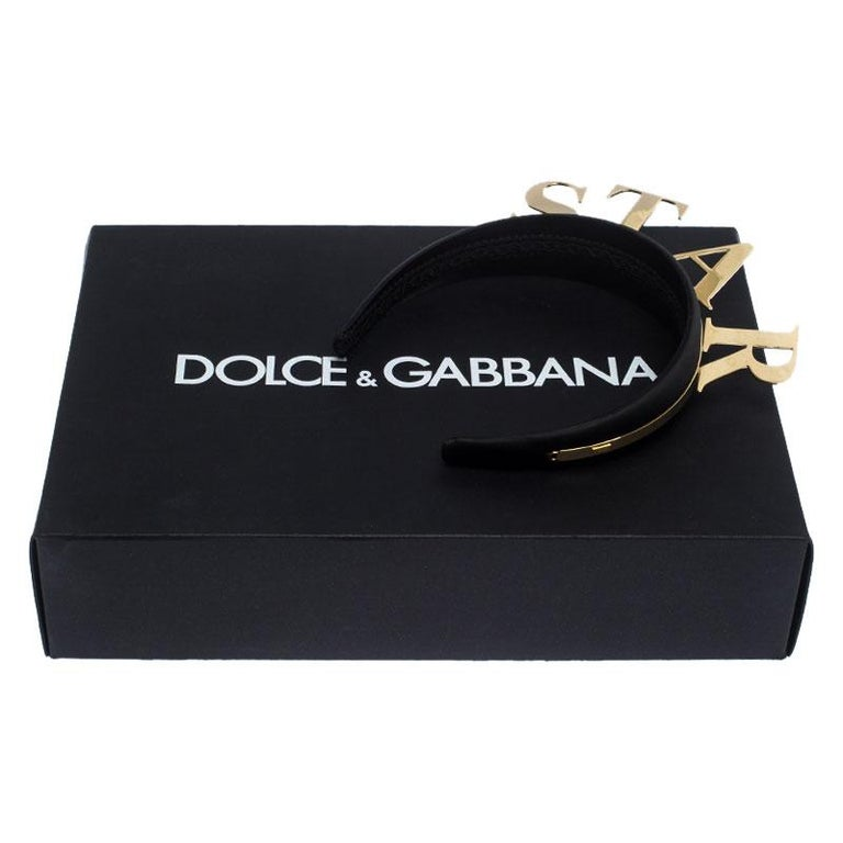 Dolce and Gabbana Star Black Satin Gold Tone Headband For Sale 1