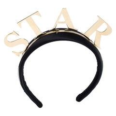 Dolce and Gabbana Star Black Satin Gold Tone Headband