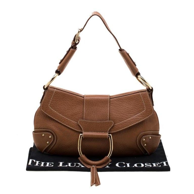 Dolce and Gabbana Tan Leather D-Ring Hobo For Sale 7