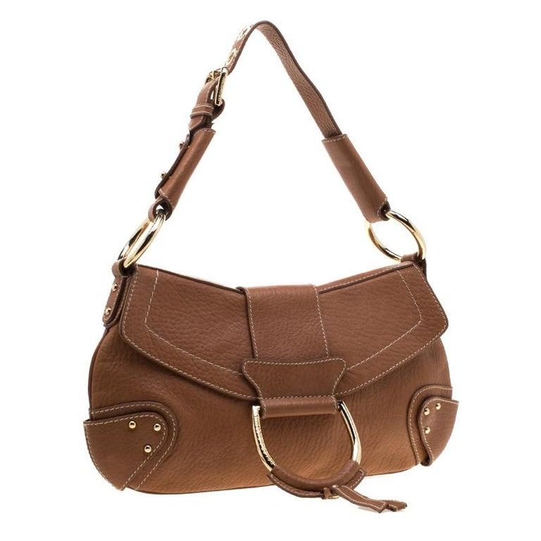 Women's Dolce and Gabbana Tan Leather D-Ring Hobo For Sale