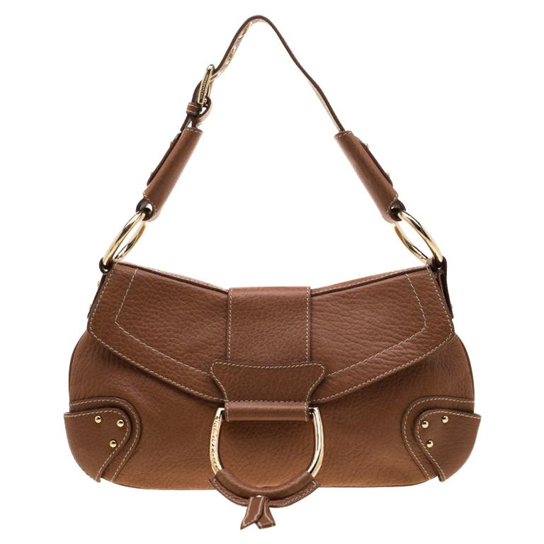 Dolce and Gabbana Tan Leather D-Ring Hobo For Sale