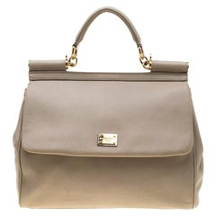 Dolce and Gabbana Taupe Leather Medium Miss Sicily Top Handle Bag