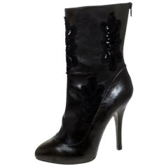 Dolce and Gabbana Two Tone Leather And Black Lace Mid Calf Boots Size 39