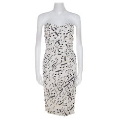 Dolce And Gabbana White and Black Musical Note Printed Silk Strapless Dress S