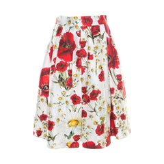 Dolce and Gabbana White and Red Floral Printed Cotton and Silk Pleated Skirt M