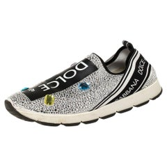 Dolce and Gabbana White/Black Fabric and Embellishment Sorrento Sneakers Size 38