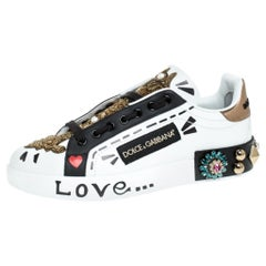 Dolce and Gabbana White/Black Leather Portofin Embellished Low Top Sneakers 38