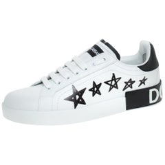 Dolce and Gabbana White/Black Leather Portofino Low Top Sneakers Size 36