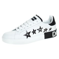 Dolce and Gabbana White/Black Leather Portofino Low Top Sneakers Size 38.5