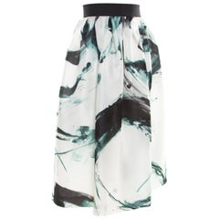 Dolce and Gabbana White Brushstroke Printed Organza Midi Skirt M