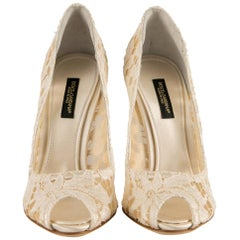 Dolce and Gabbana White Floral Lace Peep Toe Pumps Size 36.5
