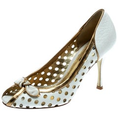 Dolce and Gabbana White/Gold Perforated Leather Bow Peep Toe Pumps Size 36.5