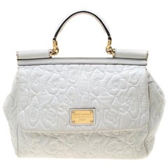 Dolce And Gabbana White Leather Large Miss Sicily Top Handle Bag