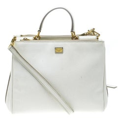 Dolce and Gabbana White Leather Miss Sicily Double Zip Top Handle Bag