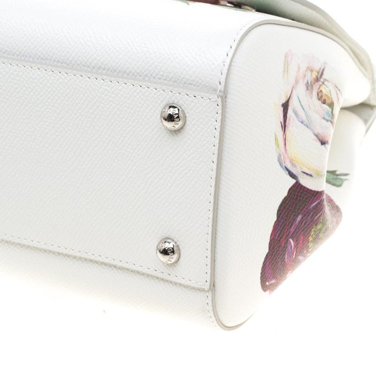 adcf9c4960a Dolce and Gabbana White Leather Peony Medium Miss Sicily Top Handle Bag For  Sale 1