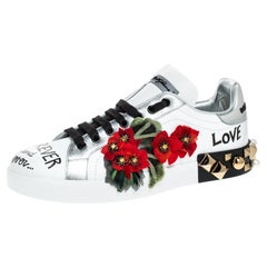 Dolce and Gabbana White Leather Portofino Flower Embellished Low Top Size 35.5