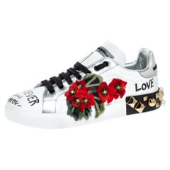 Dolce and Gabbana White Leather Portofino Flower Embellished Sneakers Size 37.5