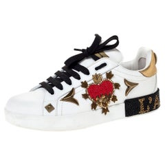 Dolce and Gabbana White Leather Portofino Heart Low Top Sneakers Size 38