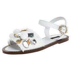 Dolce and Gabbana White Patent Leather & Crystal Flat Sandals Size 35.5