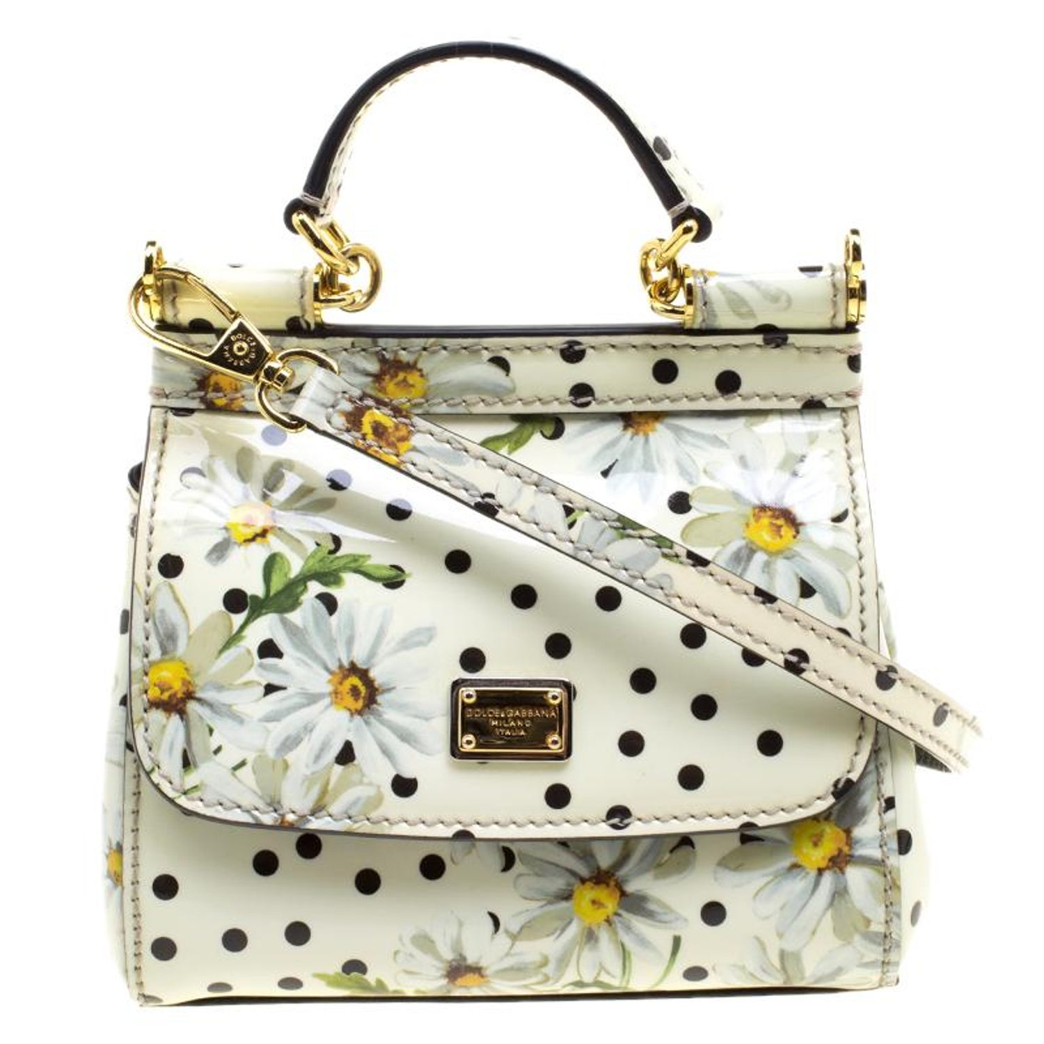 0dfcbcafd1cd Dolce and Gabbana White Polka Dots Floral Print Patent Leather Miss Sicily  Cross For Sale at 1stdibs