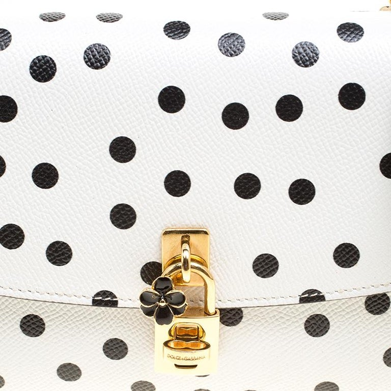 Dolce and Gabbana White Polka Dots Leather Padlock Chain Clutch 6