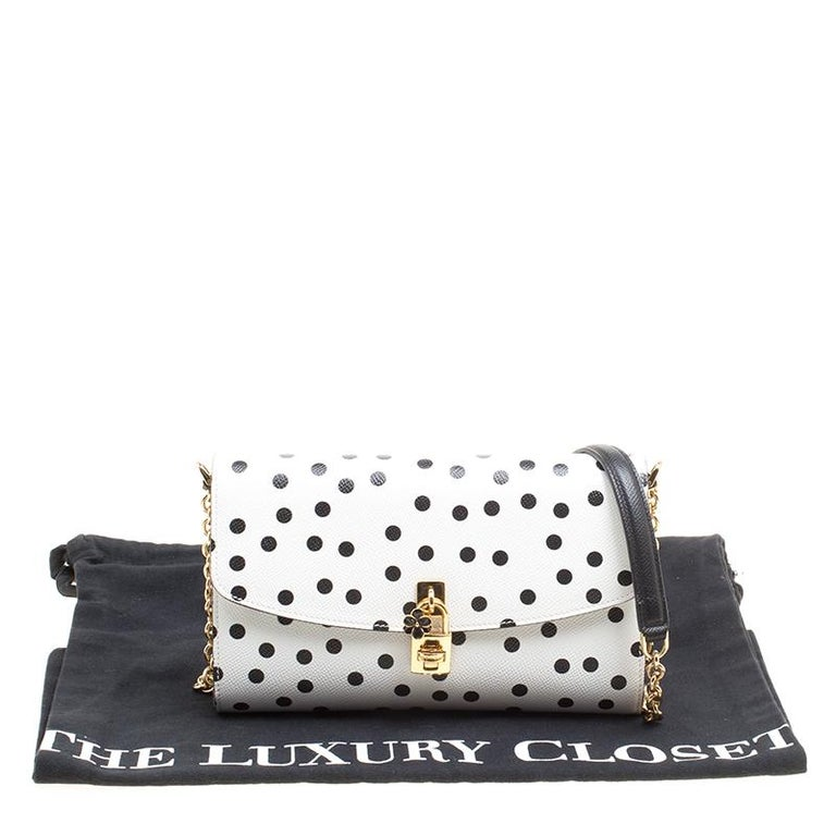 Dolce and Gabbana White Polka Dots Leather Padlock Chain Clutch 8