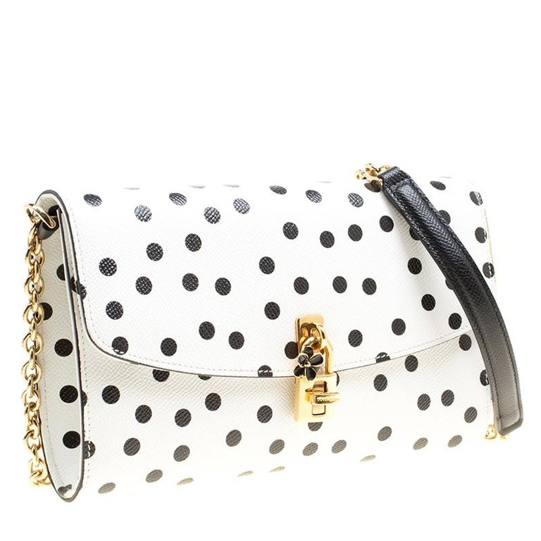 Women's Dolce and Gabbana White Polka Dots Leather Padlock Chain Clutch