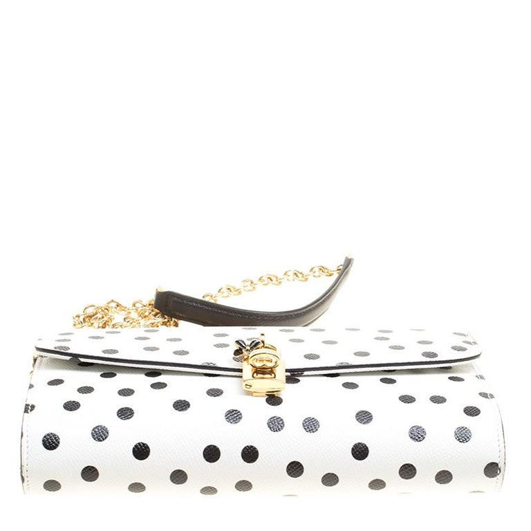 Dolce and Gabbana White Polka Dots Leather Padlock Chain Clutch 1