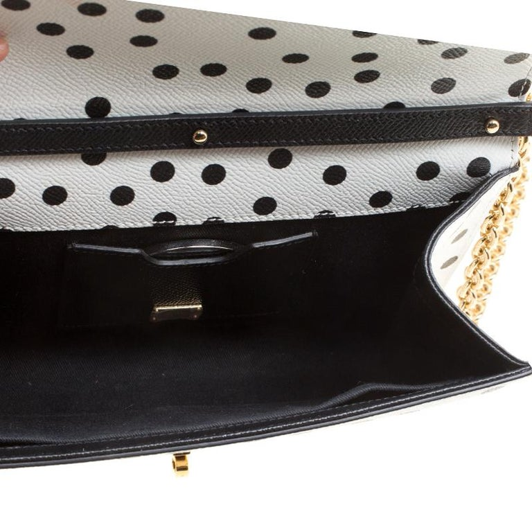 Dolce and Gabbana White Polka Dots Leather Padlock Chain Clutch 2