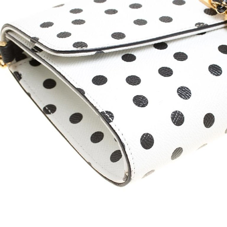 Dolce and Gabbana White Polka Dots Leather Padlock Chain Clutch 4